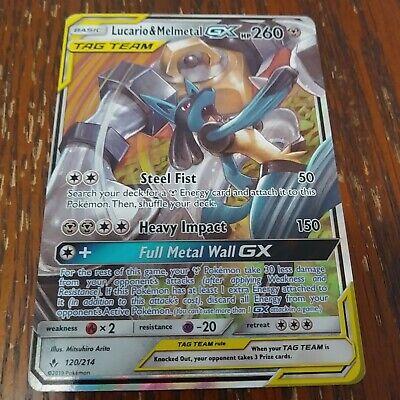 Pokemon Unbroken Bonds Lucario /& Melmetal GX #203 Ultra Rare Full Art NM