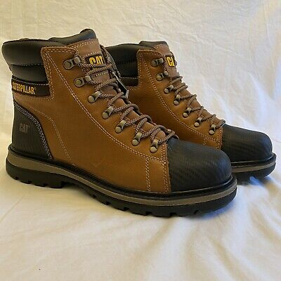 Caterpillar Foxfield Mens Steel Toe Trail Brown P91058 Slip Resistant Boots 13