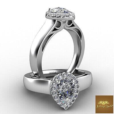 Filigree Shank Halo Pear Diamond Prong Setting Engagement Ring GIA F VS2 0.7 Ct