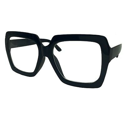 XL Large Chunky Square Glasses Clear Lens Thick Frame Nerd Eyewear Bold (Thick Square Glasses)