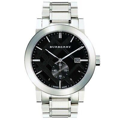 Mens Burberry city watch black dial silver case & strap Swiss movement BU9901