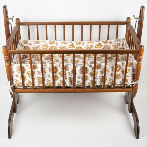 Vintage 1980s Hedstrom Hardwood Swinging Crib with Original Padding