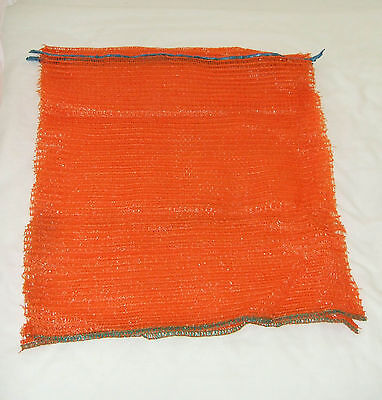 100 Orange Knitted Net Bags 42x54cm sacks veg wood kindling logs Free Posting