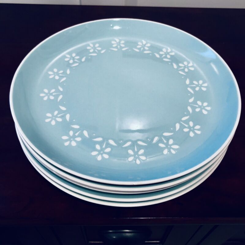 Five Mid Century Harkerware Turquoise Petite Fleurs Dinner Plates