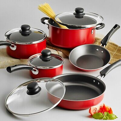 Cookware Set 9-Piece Pots And Pans Kitchen Non-Stick Cooking Stainless Steel Red