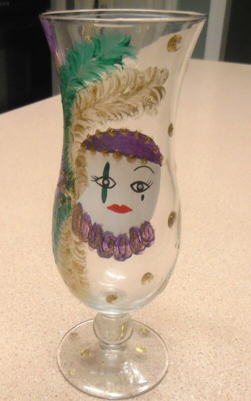 GORGEOUS 2004 TORCH CARNIVAL HAND PAINTED GLASS  VINTAGE MARDI GRAS NEW ORLEANS