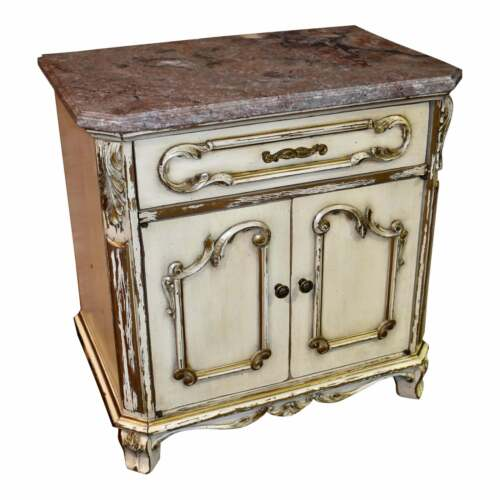 Vintage Distressed Marble Top Italian Style Cabinet/Nightstand/End Table