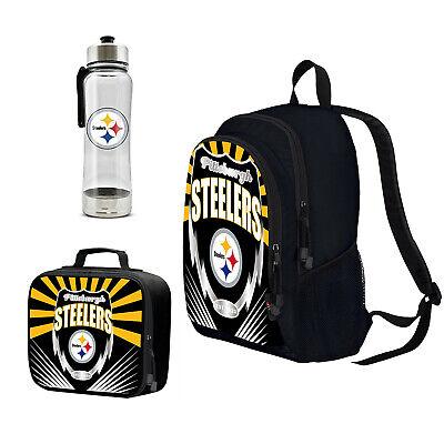 NFL Pittsburgh Steelers Boy Girl Kids School Backpack Lunch Box Water Bottle -