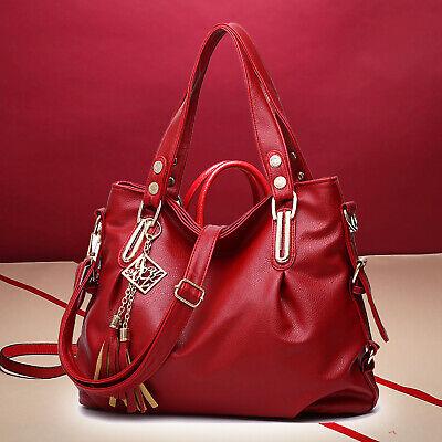 Weinrot Leder Handtasche Damentasche Umhängetasche Modern Shopper Schultertasche