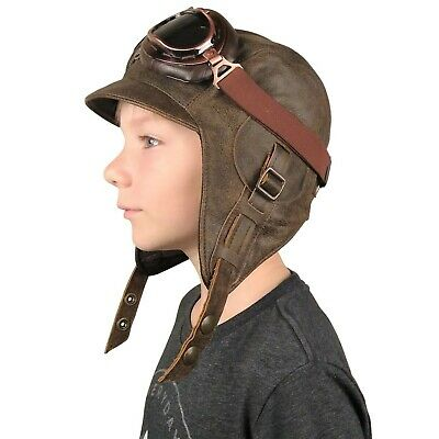 Kids Aviator Hat, Pilot Costume and goggles, real brown leather for boy and girl