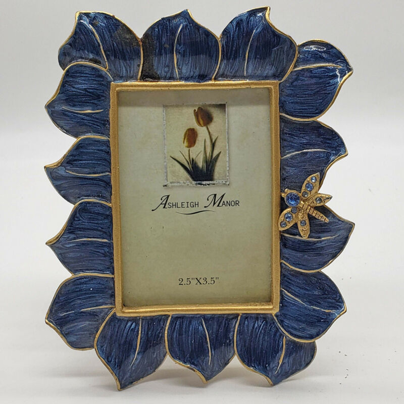 Ashleigh Manor Enameled Blue w/ Gold jeweled butterfly Picture Frame New