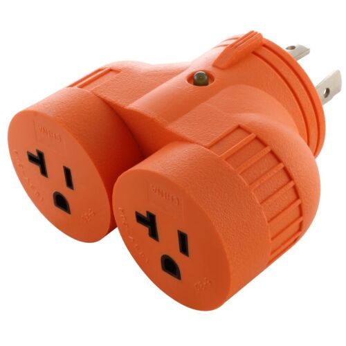 Multi-Outlet Generator V-DUO Adapter NEMA L14-30P to 2 NEMA 5-20R by AC WORKS®