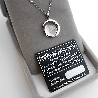 Legal Moon Dust Meteorite Necklace, With a Sample from Lunar Meteorite NWA 5000