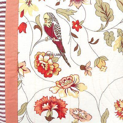 WAVERLY Retweet QUEEN QUILT SET NWT Floral Bird COTTAGE Red Ivory Green COTTON