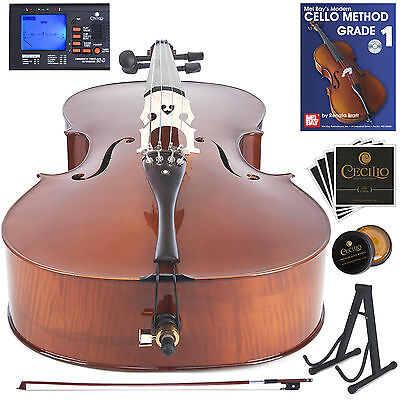 Cecilio Size 4/4 Flamed Ebony Cello +Hard & Soft Case+Tuner+Stand ~4/4CCO-500