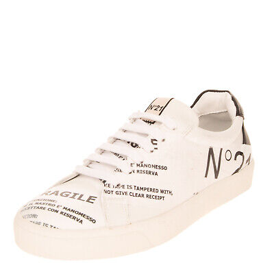 RRP €490 N 21 Leather Sneakers EU 38 UK 5 US 8 Fragile Tape Logo Made in Italy