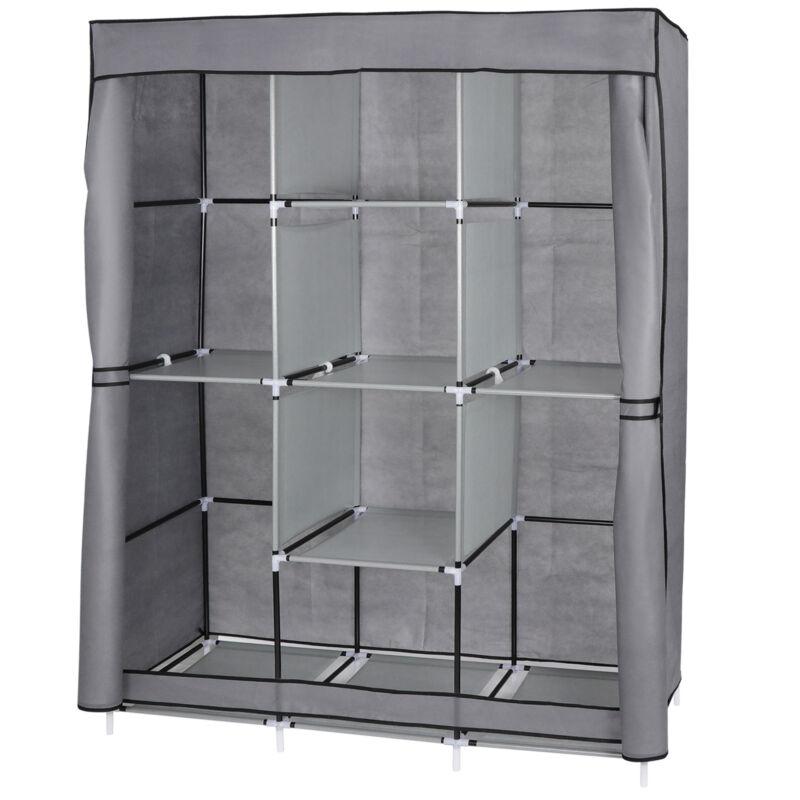 Metal Closet Wardrobe Portable Clothes Storage Organizer with Shelves Grey