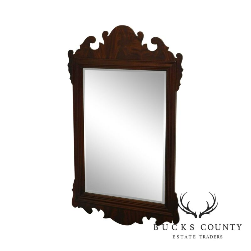 Chippendale Style Quality Mahogany Frame Beveled Wall Mirror