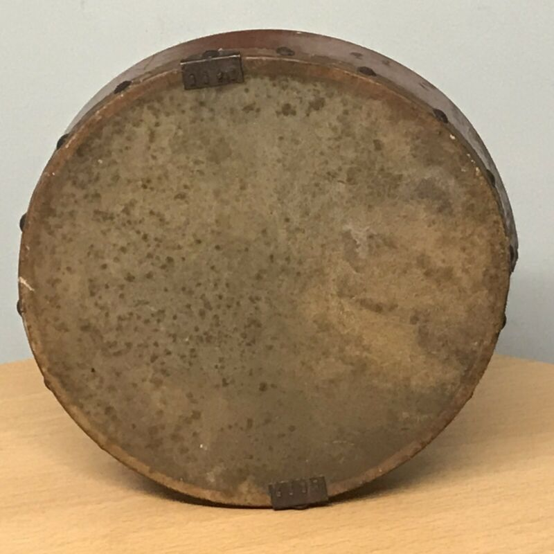 UNUSUAL SMALL ANTIQUE HAND HELD DRUM, PREVIOUSLY WITH SNARE WIRES, TAMBORIM?