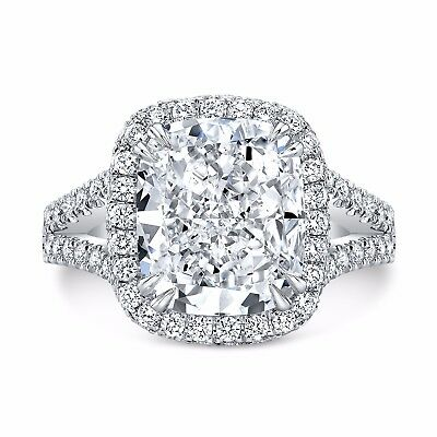 2.30 Ct. Cushion Cut Pave Diamond Halo Split Shank Engagement Ring H VS2 14K GIA 1