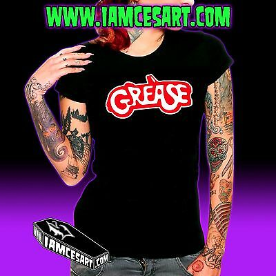Grease Women's Black Tee 100% Cotton Movie Greaser Rockabilly iamcesart