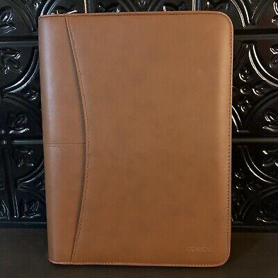 Cossini Brown Vegan Leather Portfolio Full Zipped W Notepad Calculator