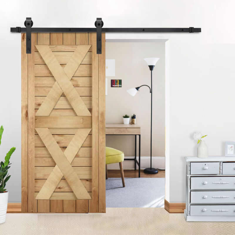 6.6 FT Sliding Barn Wood Door Basic Sliding Track Hardware Kit Modern Hang Style