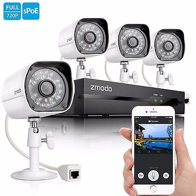 Zmodo 1080P 4CH NVR 1.0 MP Outdoor CCTV IR-cut Video Home Security Camera System