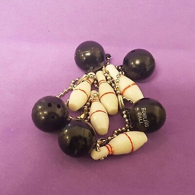 Vintage BOWLING BALL & PIN gumball charms lot of 5 Hong Kong not-cracker-jack
