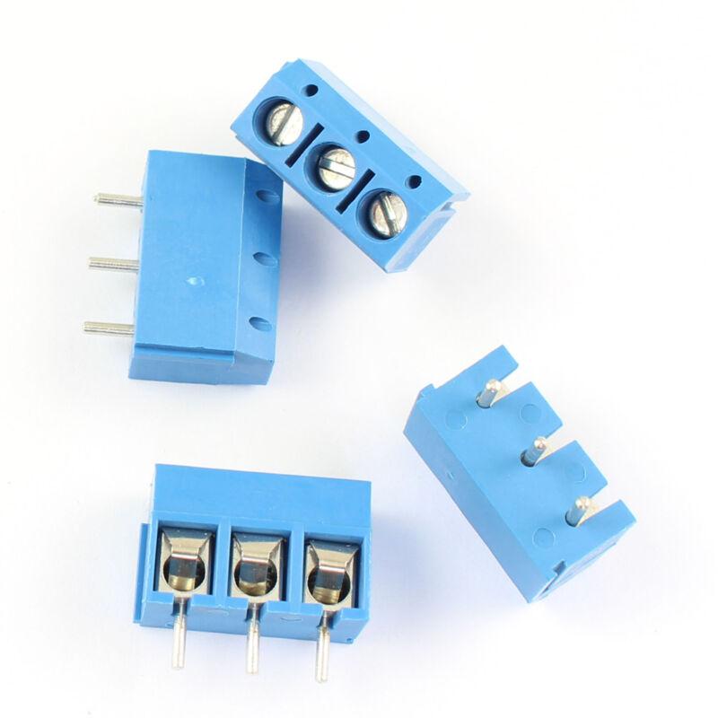 50Pcs Blue 5mm 5.0mm Pitch 3 Pin PCB Screw Terminal Block Connector 300V 15A