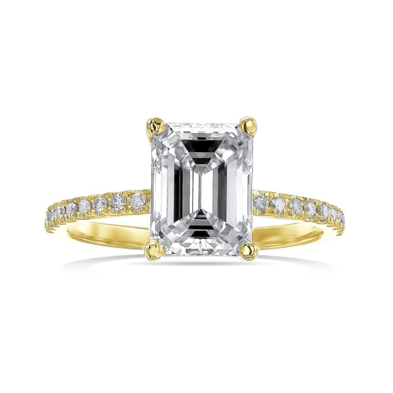 Real Diamond Engagement Ring Hidden Halo E/vs2 1.50 Ct Emerald 14k Yellow Gold