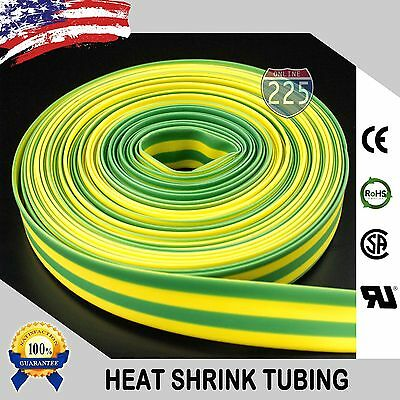 "5 FT. 5' Feet GREEN & YELLOW 1"" 25mm Polyolefin 2:1 Heat Shrink Tubing RoHS UL"