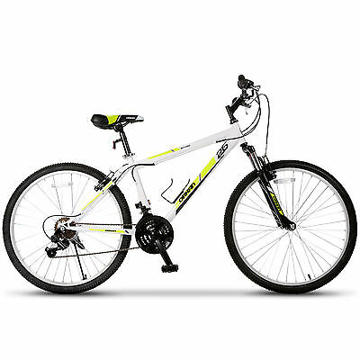 26'' Mountain Bike Hybrid Bike 18 Speed Full Suspension Bicycles Shimano White