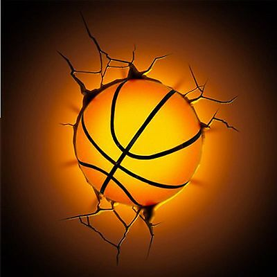 3D Basketball Deco Wall LED Night Light Crack Sticker Kids/Sports Room Decor