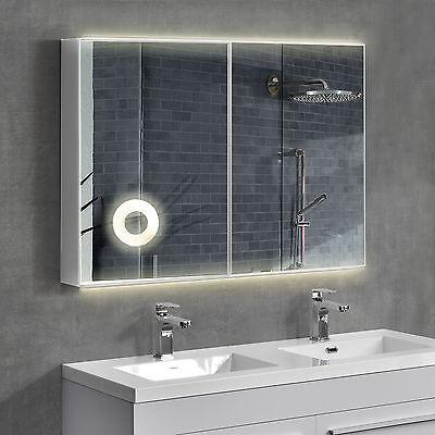 [neu.haus]® LED Spiegelschrank 100x70cm Badezimmer Edelstahl Bad Schrank Silber