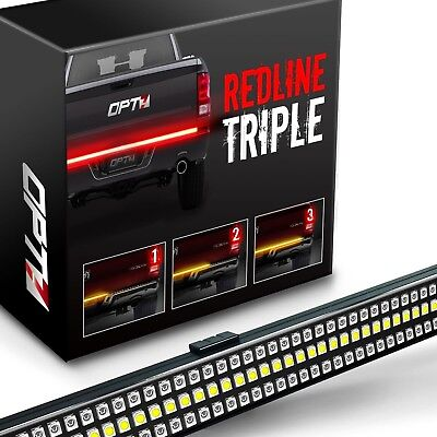 "60"" TRIPLE LED Tailgate Bar Sequential Turn Signal Amber Rigid Brake Light Rear"
