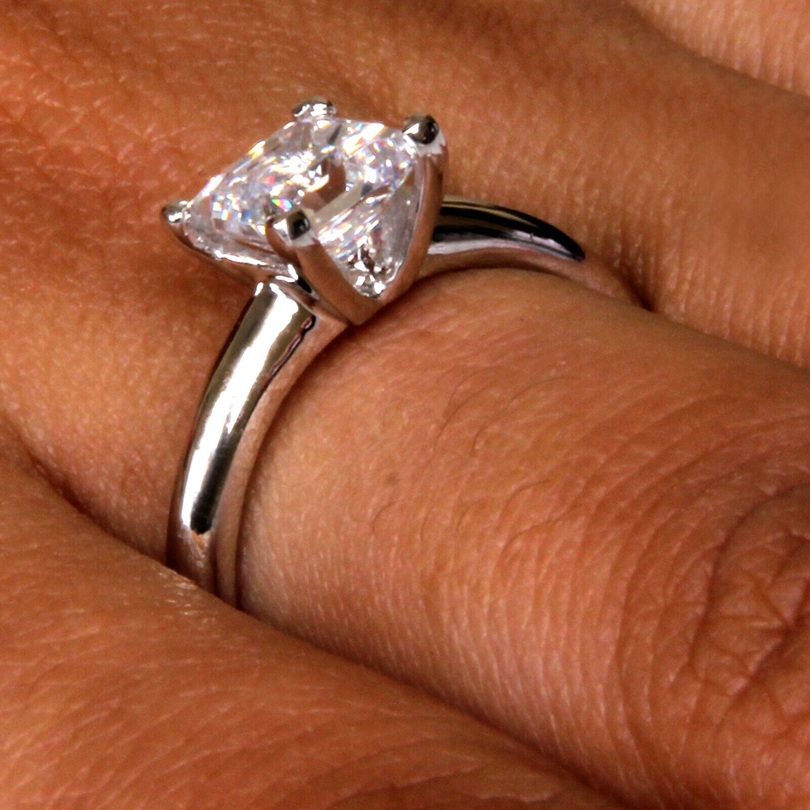 1.85 Carat Princess Shape Solitaire Women's Wedding Ring - 925 Sterling Silver 6