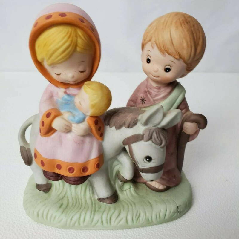 Vintage HOMCO Flight To Egypt Joseph Mary Jesus Donkey Porcelain Figurine 5608