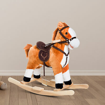 Kids Ride On Rocking Horse Pony Toy Plush Gift Tail w/Sound Brown Rocking Horse Sounds