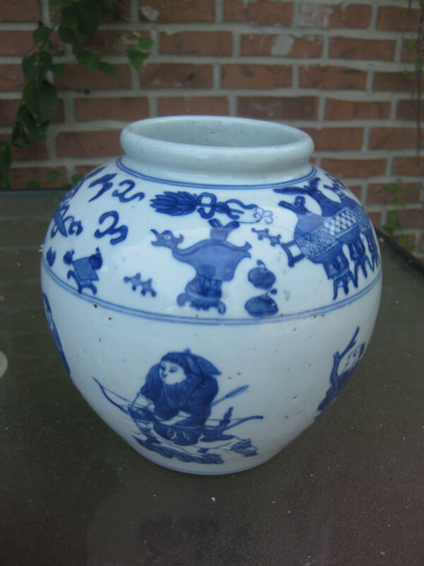 Chinese antique ceramic/porcelain heavy ginger jar, Qing dynasty?