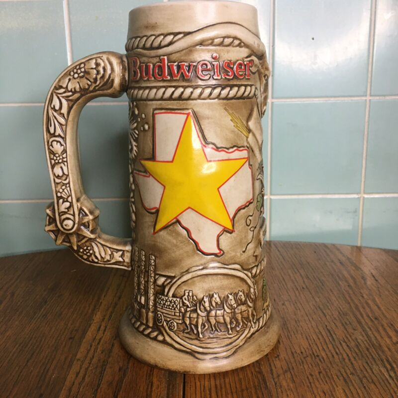 Budweiser clydesdale beer stein Houston Texas handcrafted Brazil limited edition