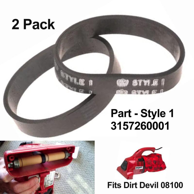 Dirt Devil Style 1 Vacuum Belt 2 Pack Fits 08100 Handheld Va