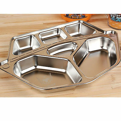 Stainless Steel KIDS Food Snack Tray Robot Shaped Hygienic Safe Children Dish