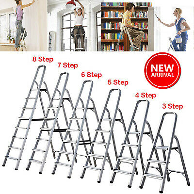 ALUMINIUM STEP LADDER 3 4 5 6 7 8 STEP STEPLADDER LIGHTWEIGHT PLATFORM LADDERS