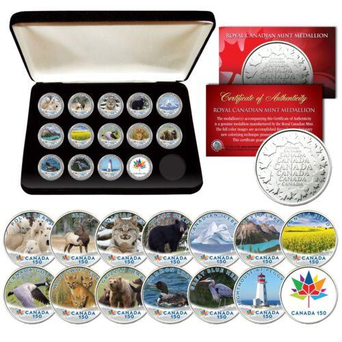 CANADA 150 ANNIVERSARY RCM Royal Canadian Mint Medallions WILDLIFE Set of 14 BOX