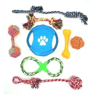 Dog training Rope Toy Set Chew Cotton Plastic Bone Teeth Clean Tug War Play Disc