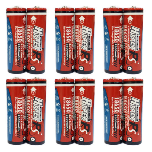 12 x 18650 2600mAh 3.7V Li-ion Rechargeable Battery Flashlight HyperPS US Stock