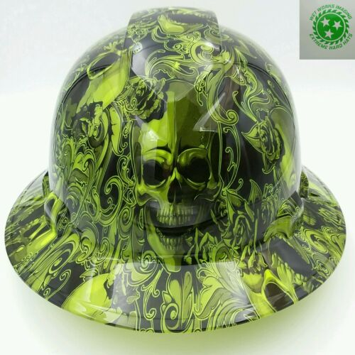 Hard Hat FULL BRIM  custom hydro dipped , OSHA approved SKULLS N ROSES LIME
