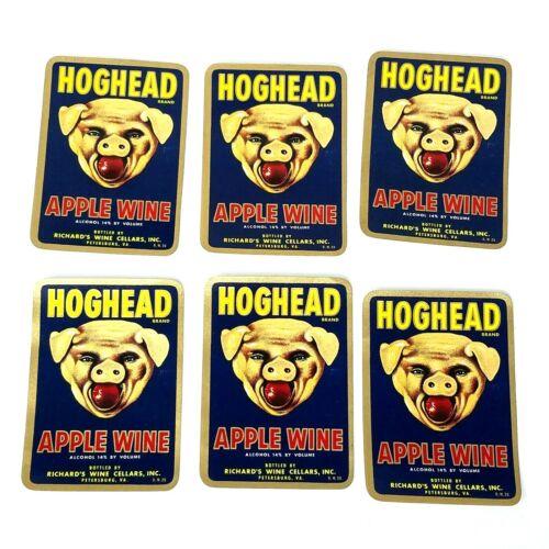6 Hog Head Hoghead Apple Wine Pig Swine Bottle Labels UNUSED Richards Cellar VA