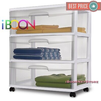 Plastic 3 Drawer Organizer Storage Cart With Drawers Wheels Wide Multi-purpose
